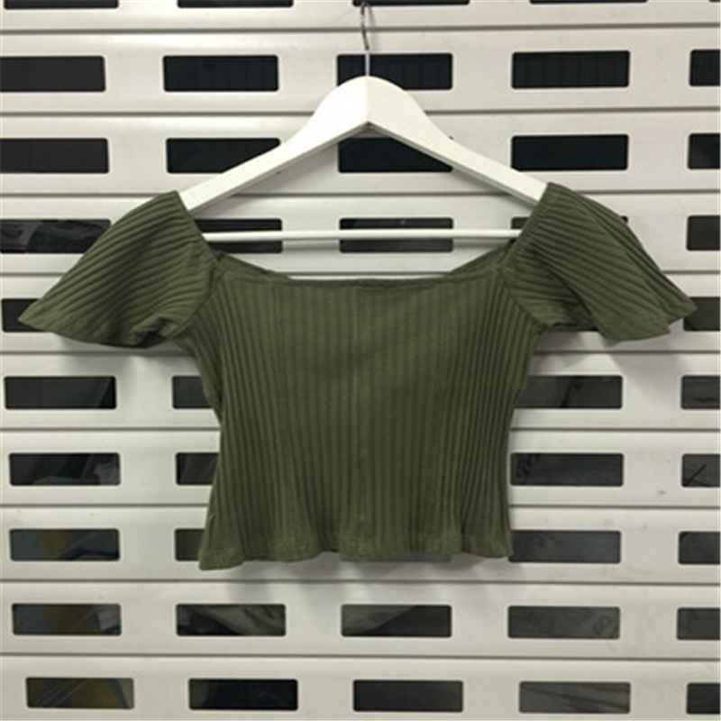 Tart V Fashion T People Crop Women white Sweety green Bow Herringbone gray Top A521 Novelty Black Color Short Shirt Solid New neck Tops tgdqwdZ