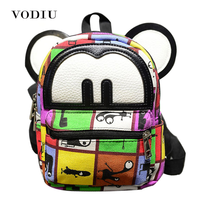 a5dc0a7926ef 2017 Fashion Cute Mickey Ear Graffiti PU Leather Mini Female Backpacks  Zipper Printing Children School Bags Teen Girls Mochilas