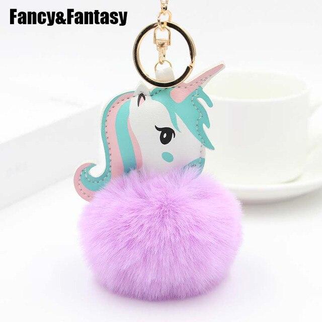 Необычные и фантазийные милые брелоки с помпоном брелок из искусственного меха кролика мяч лошадь брелок для ключей с единорогом животный помпон автомобильный брелок сумка Подвеска