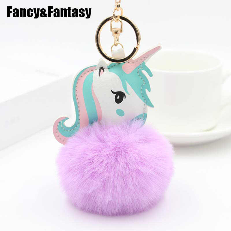 Fantasia & Fantasy Bonito Bugiganga Chaveiro Faux Pele De Coelho Bola Pompom Keychain Do Cavalo Unicórnio Animal Pom Pom Chave Do Carro saco anel Pingente