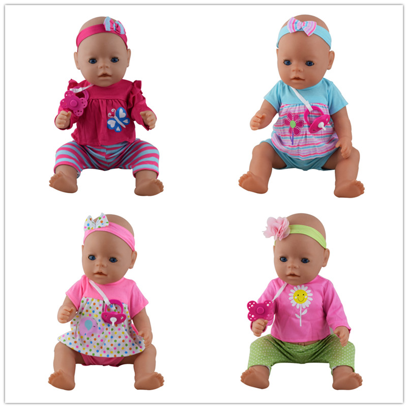 4color choose 1=Hair band+coat+pants+Nipple doll clothes Wear fit 43cm Baby Born zapf, Children best Birthday Gift zebra pattern doll clothes wear fit 43cm baby born zapf doll children best birthday gift