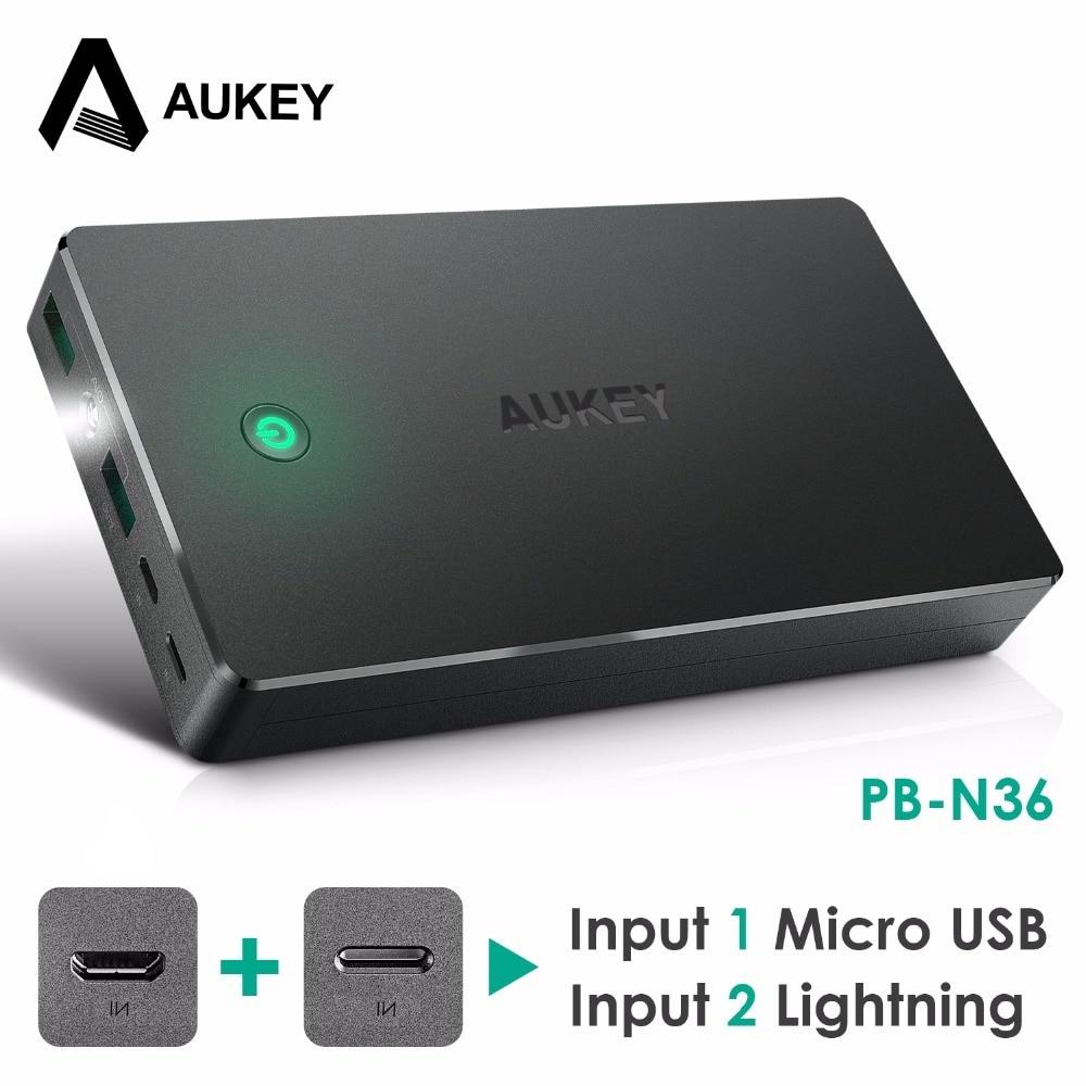 bilder für AUKEY 20000 mAh Energienbank Dual USB External Power Batterien Tragbare Handy-ladegerät für Xiaomi iPhone Samsung galaxy s8