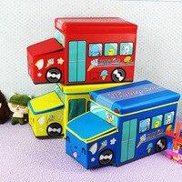 NEW Bus Shape Storage Box For Toys Kids Clohtes Toy Organizer Folding Cartoon Car Toy Storage Basket Children Storage Bin