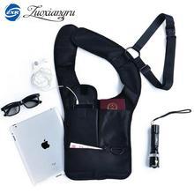 მრავალფუნქციური ქალები / მამაკაცები მოგზაურობის საწინააღმდეგო ქურდობით დამალული Underarm Shoulder Bag შავი ნეილონის ჯიბის Mp3 მობილური ტელეფონის შენახვის ორგანიზატორი ჩანთა