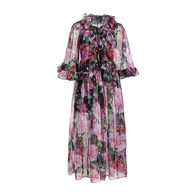 9ab32e35ea Silk Dress 2019 Spring Summer Women Elegant Casual Ruffled Flare Sleeve Floral  Printed Chiffon MaxiDress Vestido