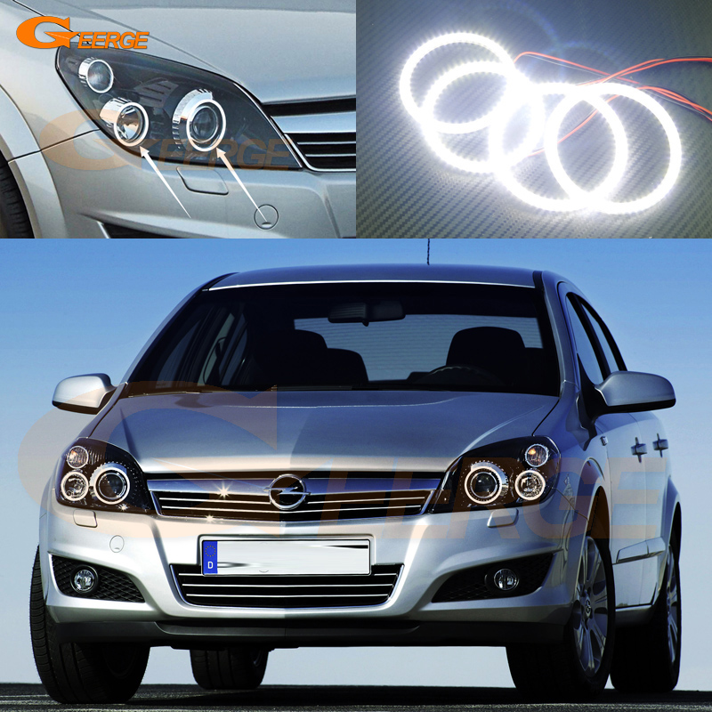 For Opel Astra H 2004-2010 Xenon headlight Excellent Angel Eyes Ultra bright illumination smd led Angel Eyes Halo Ring kit super bright 102 smd 3014 led car angel eyes halo ring light for honda crv07 xenon white halo ring headlight bulbs 7000k