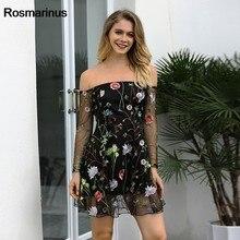 228492355020 Rosmarinus Frauen Sommer Slash Hals Langarm Stickerei Kleid-elegantes Netz  Transparent Sexy Mini Kleid Weibliche