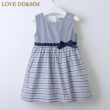 LOVE DD&MM Girls Dresses 2020 Summer New Childrens Wear Girls Fashion Sweet Striped Waist Bow Sleeveless Vest Dress