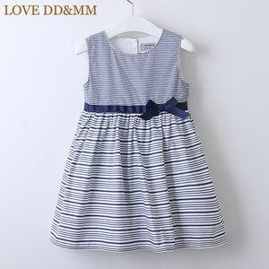 Image 1 - LOVE DD&MM Girls Dresses 2020 Summer New Childrens Wear Girls Fashion Sweet Striped Waist Bow Sleeveless Vest Dress