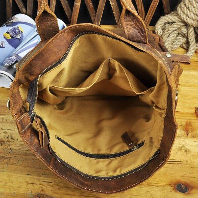 Taschen Daypack Rindsleder Schulter Rucksack Reise Einzigen Lässige Computer Crazy Horse Vintage Männer Knapsack Brown Tasche Schule UOX6En