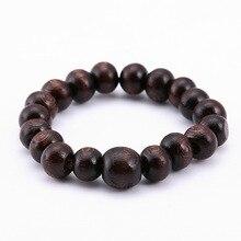 Pulsera de cuentas de madera redondas minimalistas para hombre pulsera de oración con letras de Buda, marrón, joyería masculina