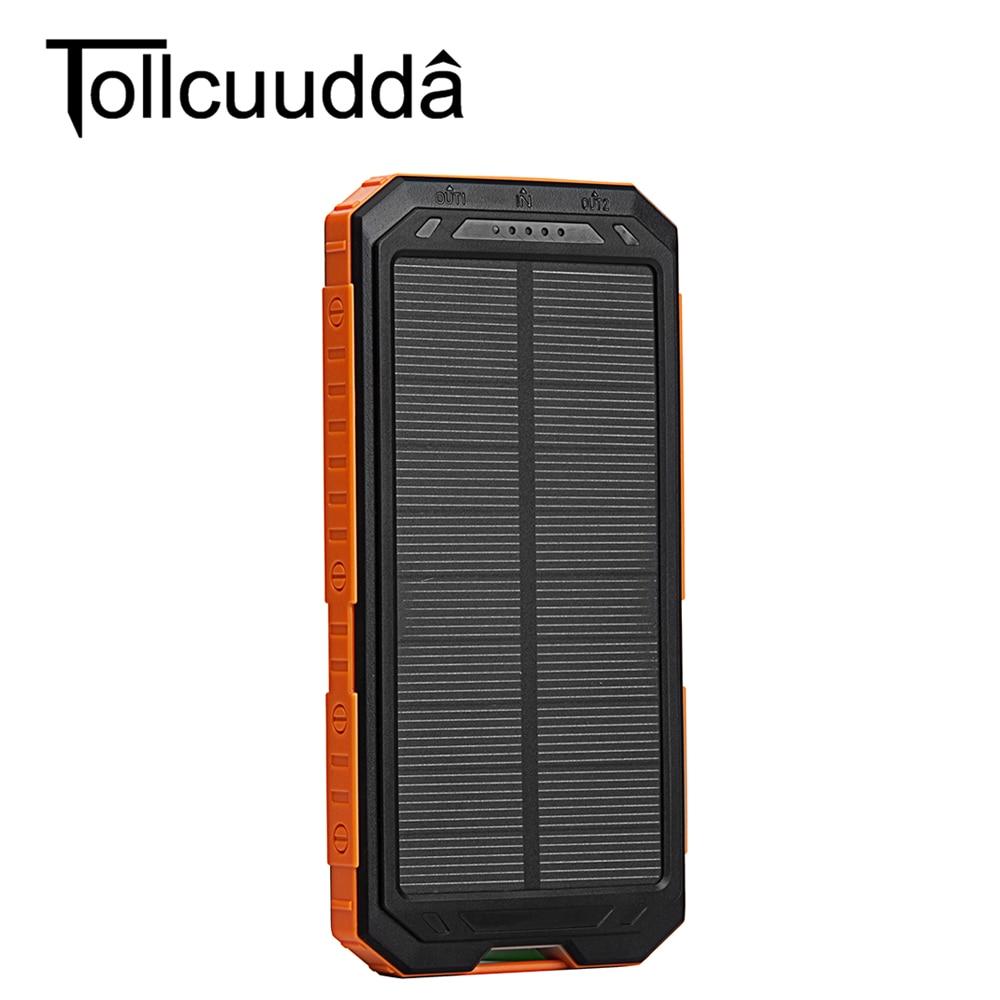 imágenes para Tollcuudda impermeable solar banco de la energía 10000 mah dual usb powerbank cargador solar a prueba de agua para todo el teléfono móvil envío rápido