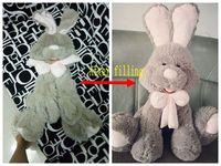 1 قطعة 70 سنتيمتر bowknot أرنب رمادي الأرنب أفخم لعبة دمية معطف الجلد لا ٪ أنصاف المنتجات هدية الجملة