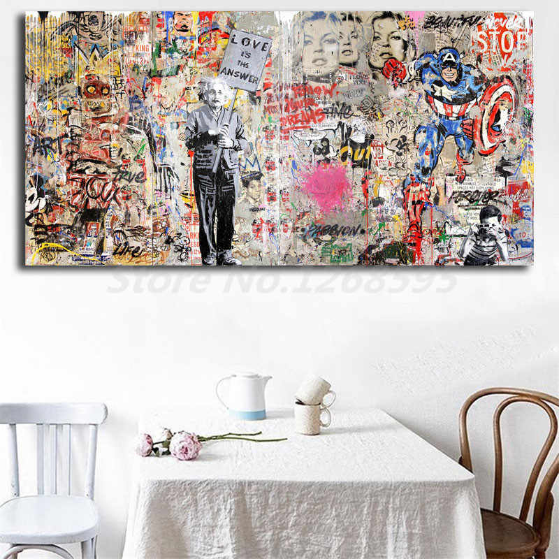 Mr. Brainwash Einstein Mural Banksy HD Wall Art Canvas Posters Prints Painting Wall Pictures For Office Living Room Home Decor