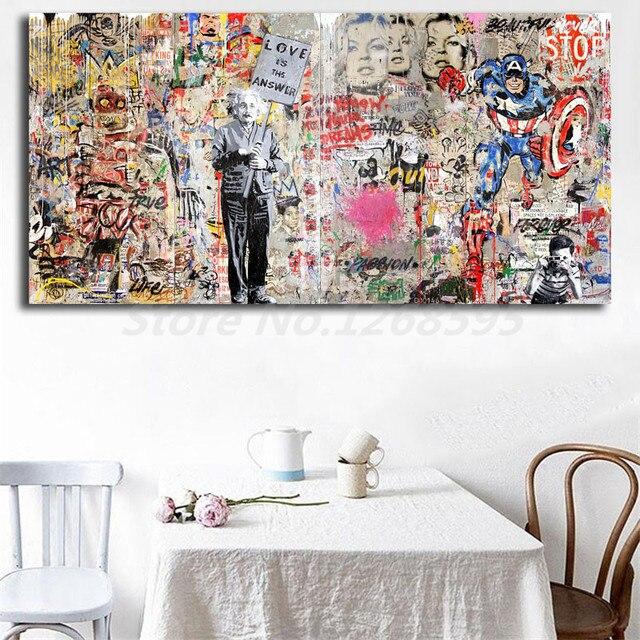 Г-н Brainwash Эйнштейн Фреска Banksy HD настенные художественные Постеры-холсты печать картины настенные картины для офиса гостиной домашний декор