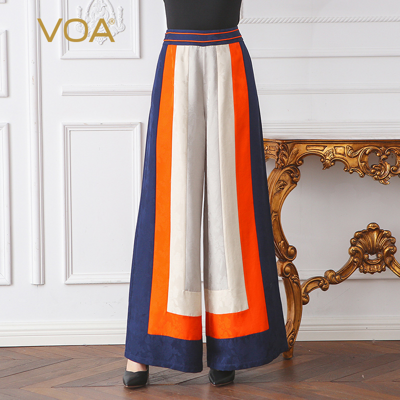 VOA Heavy Silk Jacquard Hit Color   Wide     Leg     Pants   Women Plus Size 5XL Loose Trouser Casual Spring Office Slant Pocket KJA00101