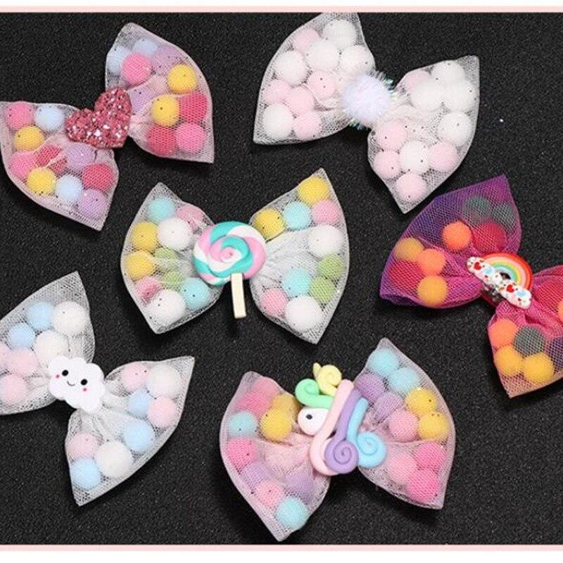 Boutique 8cm Kids Lollipop Strabery Pom Pom Hair Bow Cloud Mesh Hair Clip For Girls Child Hair Accessories 2pcs Headddress