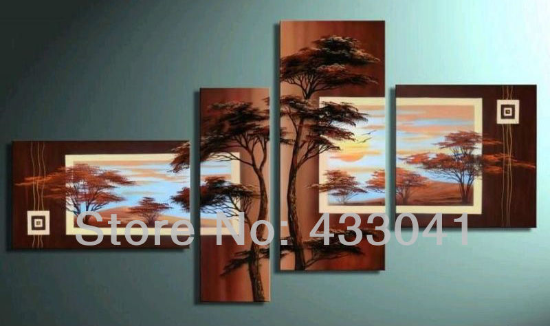 Pine Living Room Furniture Sets: Hand Painted 4 Piece Sets Modern Abstract Brown Pine Tree