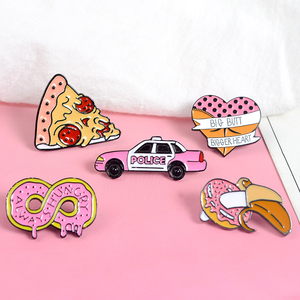 Pink Collections Zombie Pizza Donut Hot Dog Banana Heart Butt Car Infinite Hard Enamel Lapel Pin Badges Brooches(China)