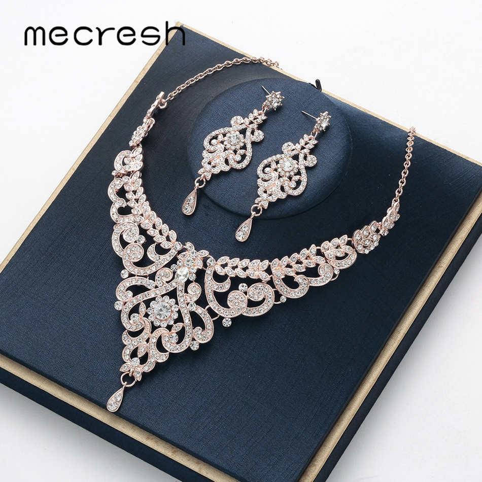 Mecresh Wedding-Jewelry-Set Necklace-Set Earrings Rose-Gold-Color Women Crystal-Branch-Bridal