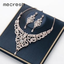 Mecresh Crystal Branch Bridal Wedding Jewelry Set for Women Rose Gold Color Earrings Necklace Engagement 2019 MTL583