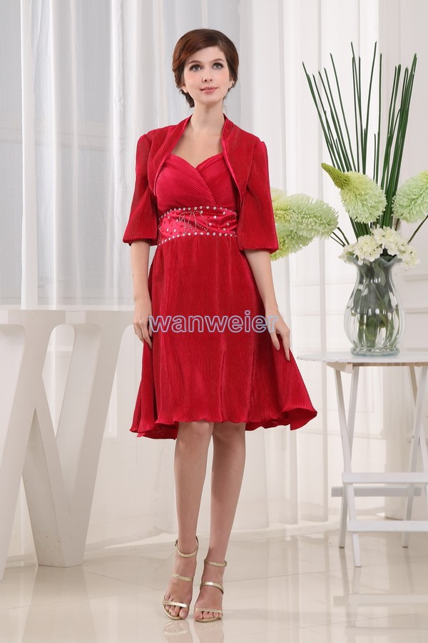 Free Shipping New Style 2016 Brides Made Dress Brides Maid Dresses Red Sexy Short Mother Of The Bride Dresses And Jacket