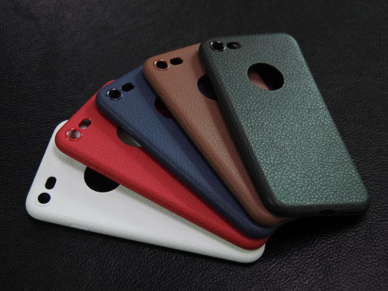 Dla iphone 7 plus iphone 7 case silicon ultracienkich tpu miękka skóra wzór case dla iphone 6 6s plus logo hole back cover czarny 21