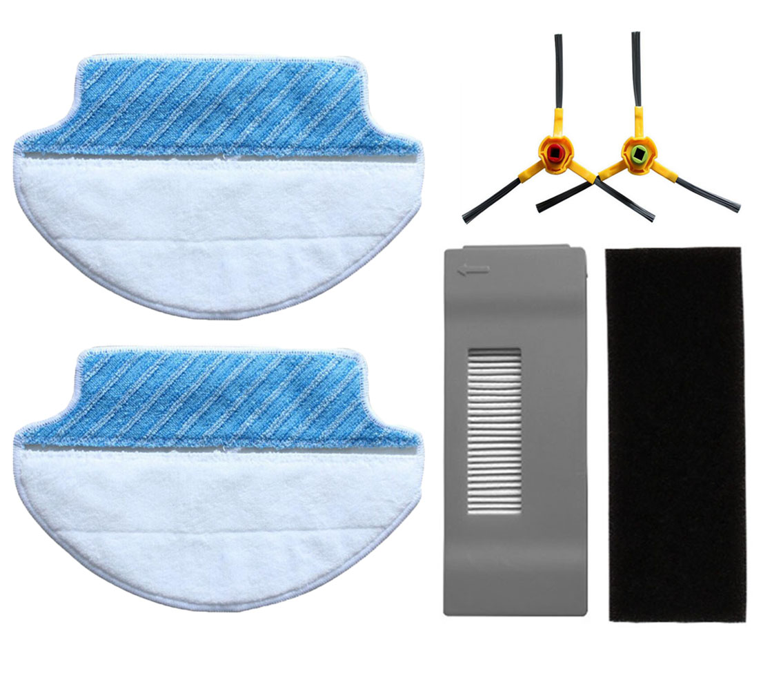 2 pcs Wet & Dry Microfiber Mop Pad Mopping Cloth, 1 Hepa Filter & 1 Foam Filter, 2 Side Brushes For Ecovacs Deebot DT85 DT83 single sided blue ccs foam pad by presta