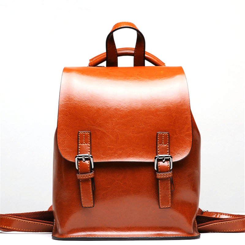 Kajie Vintage Wax Oil Women Backpack High Quality Cowhide Leather Backpacks For Teenage Girls Female School Shoulder Bag Bagpack