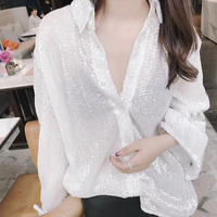 Spring Summer 2018 Women Sexy Sequin Black White Blouse New Designer Long Sleeve Loose Top Shirts Women Party Casual Blusas
