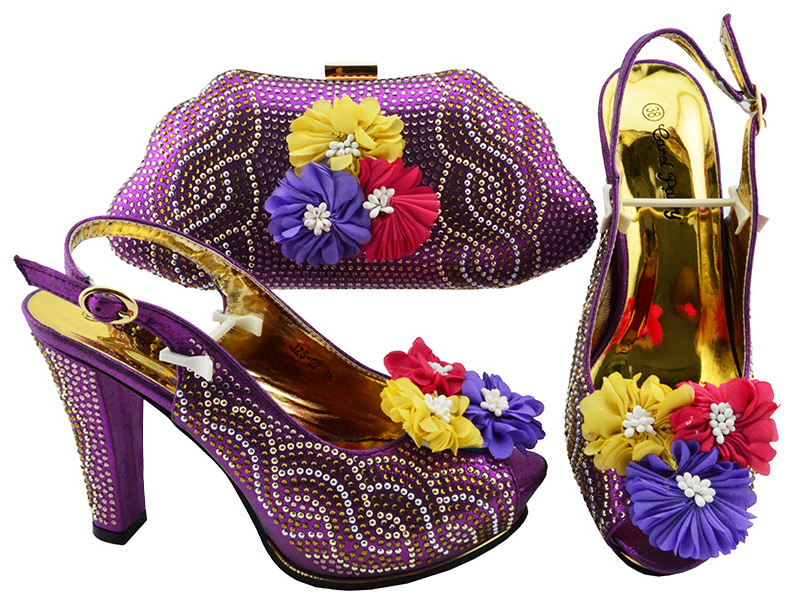 Elegant fashion shoes and bag to match women italian shoes bag matching set purple with flowers and many stones SB8193-4Elegant fashion shoes and bag to match women italian shoes bag matching set purple with flowers and many stones SB8193-4