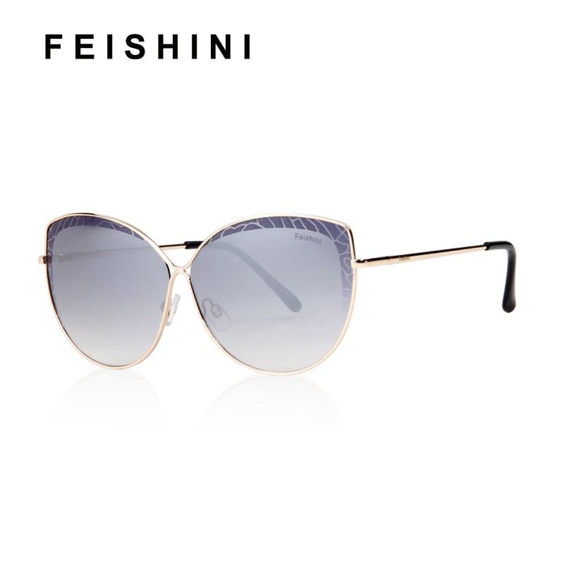 299d8a14a FEISHINI Cateye Óculos De Sol Armação de Metal da Marca Rosa de Ouro  Senhoras Protetor UV Gradiente Espelho 2019 Óculos de Moda Na Moda Das  Mulheres em ...