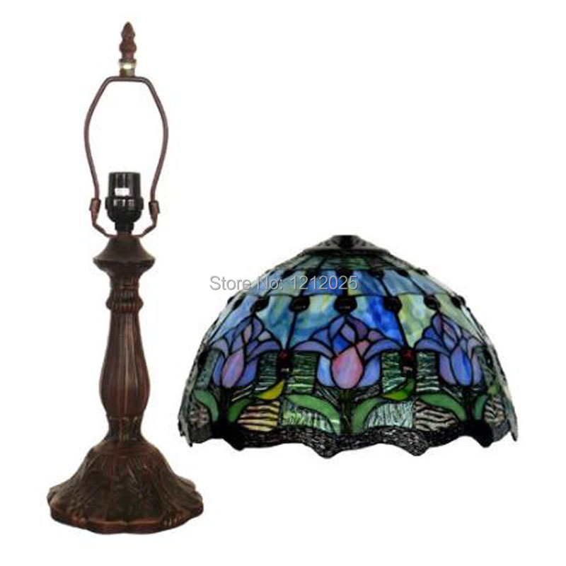 Antique Tiffany Style Tulip Table Lamp For Bedroom Bedside Lamps Handcrafted Indoor Lighting Stained Gl Lampshade Blue W30cm In From Lights