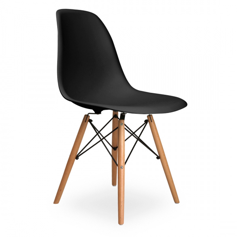 6 pieces for a lot Modern Creative Casual Dining Side Chairs Beech PP Plastic  Black