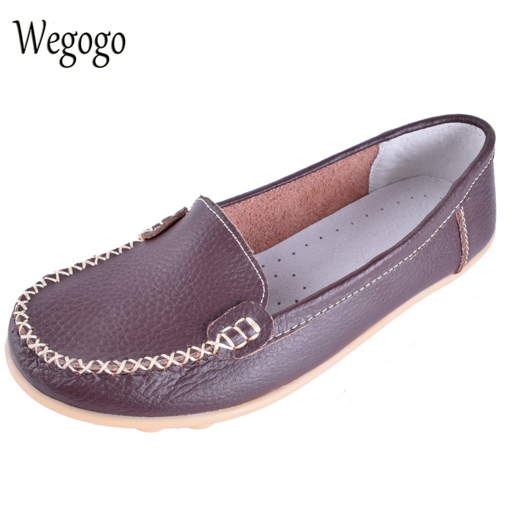 Wegogo Women Shoes Genuine Leather Ballet Flats Slip On Shoes Ladies Flats Ballerina Flats Moccasins Loafers Shoes womens ballet flats slip on faux leather solid ballerina shoes for women casual comfort autumn ladies loafers shoes wholesales
