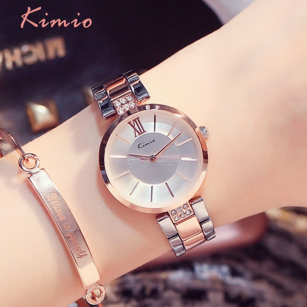 KIMIO Simple Thin Rhinestone Rose Gold Quartz Horloges Damesmode 2018 Dameshorloge Dameshorloges Jurkhorloge voor Dames