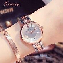 KIMIO Simple Thin Rhinestone Rose Gold Quartz Watches Women Fashion 2018 Ladies Watch Women's Watches Dress Wristwatch For Women
