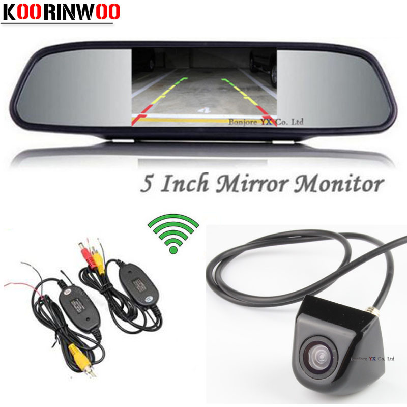 Wireless Adopt 5 inch Mirror Monitor 800*480 Display LCD TFT Screen Car Rear View Camera Backup Reversing Cam Parking Assistance