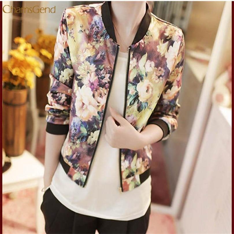 women jacket Autumn Women Bomber Jacket Vintage Sweet Floral Collar Long-sleeved Bomber Short Print Zipper Jacket Coats TJ