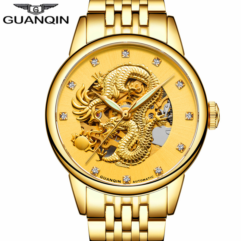 Top Brand GUANQIN Watch Men Luxury Mechanical Watches Gold Dragon Diamond Stainless Steel Mens Watches Automatic Wristwatch new hollow brand luxury binger wristwatch gold stainless steel casual personality trend automatic watch men orologi hot sale watches