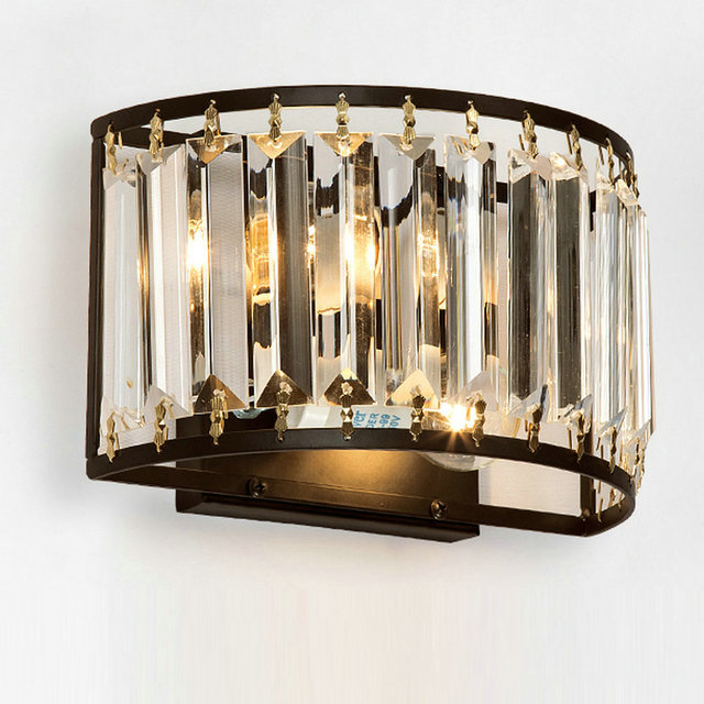 Modern Crystal Wall Sconces Up Down Lamp Vintage Loft Style Lights Fixtures For Home