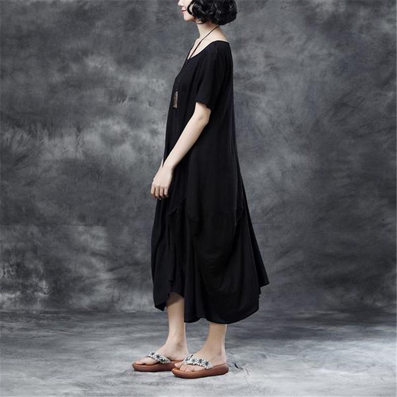 Robe Hem Avec Casual Poches Manches Cou Noir Irrégulière Eleganr Nouvelle O 2018 Été Coton Courtes Buykud qa4wFF