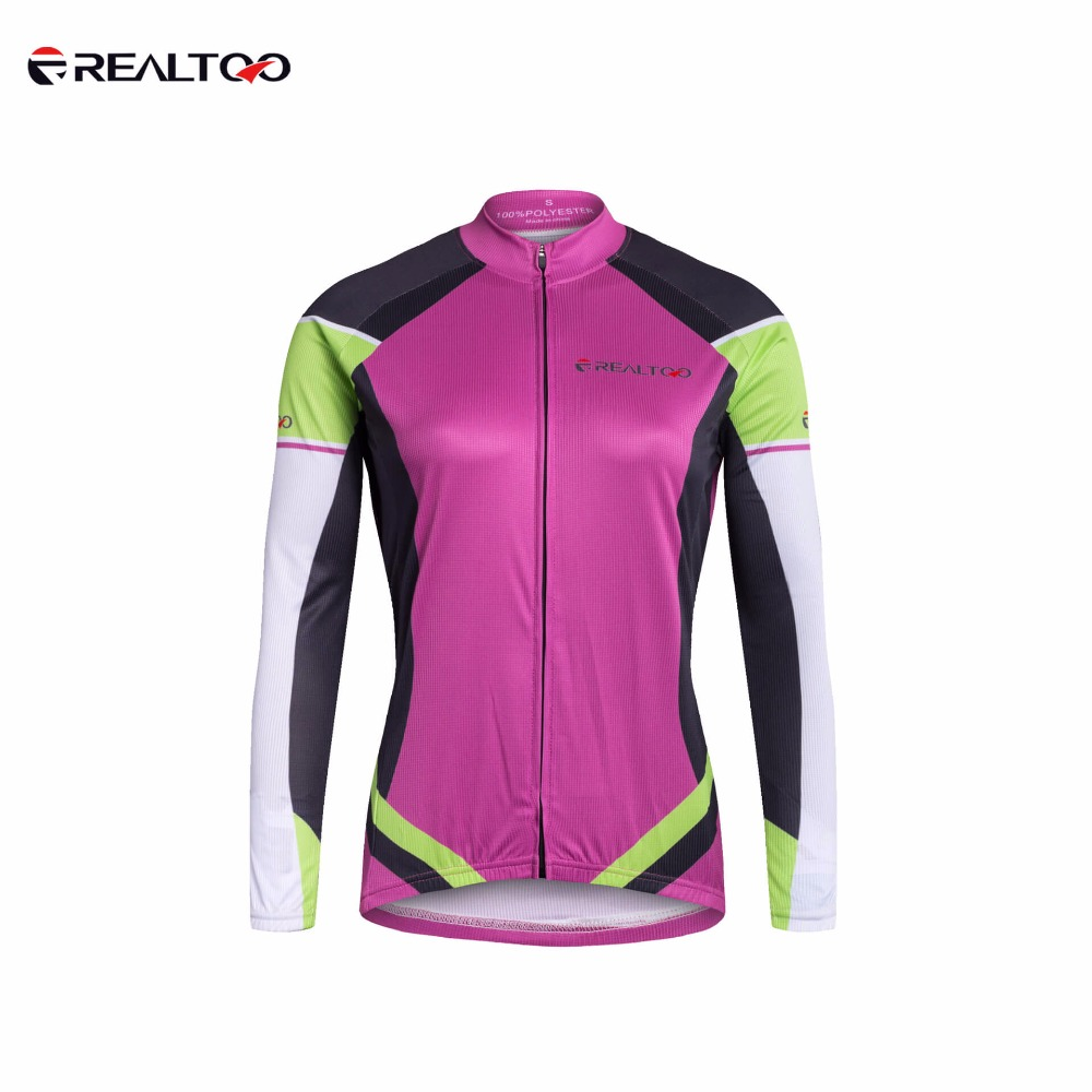 REALTOO Womens Breathable Cycling Jersey Bike Long Sleeve Shirt Spring/Autumn Sportswear Riding Running Sunscreen