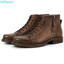 QYFCIOUFU Fashion Chelsea Boots Men Vintage Style Genuine Leather Mens Boots Back Zipper Lace-up Short Boots Hot цена