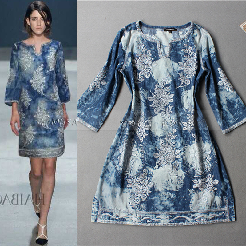 Luxury embroidery denim dress summer runway women