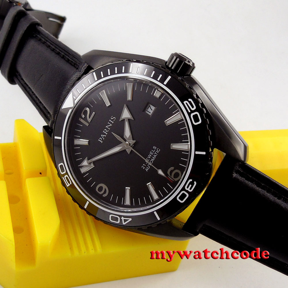 45mm Parnis black dial PVD Sapphire Glass Ceramic Bezel Automatic mens Watch 305