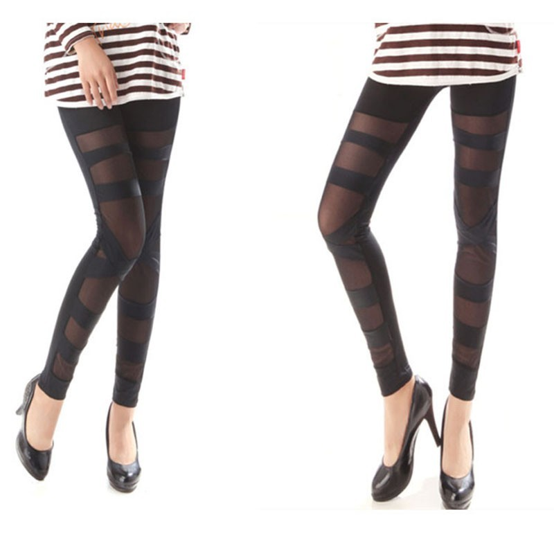 Black Punk Rock Elastic Mesh Leggings