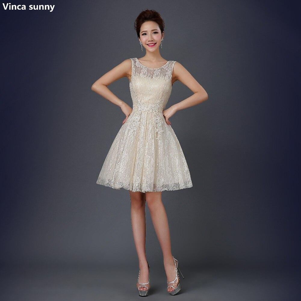 Online Get Cheap Champagne Vintage Lace Short Evening Dresses ...