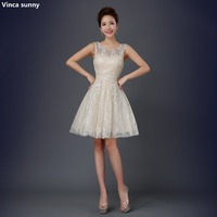 Vinca sunny 2018 sexy Lace Short Prom Dresses Evening Dress Girl Lovely Club Prom Party Gown Champagne