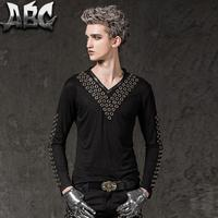 Black Fashion Punk Slim Sexy Rivets V Collar Shirt Men Long Sleeve Shirt Teenage Korean T